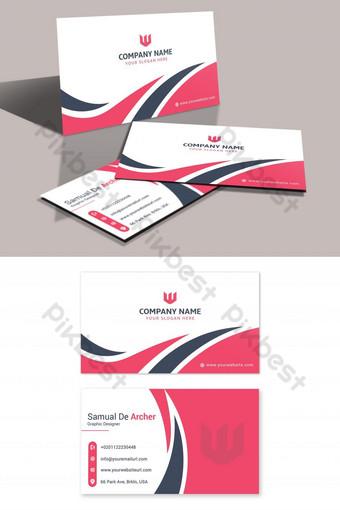 kartu bisnis modern merah muda yang kreatif Templat PSD