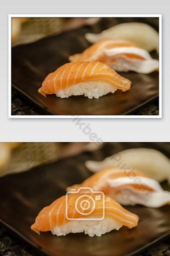 Fresh japanese food salmon sushi on dish photo Photo Template JPG