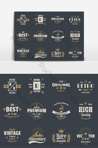 elemento gráfico de vector de paquete elegante logotipo retro vintage Elementos graficos Modelo EPS