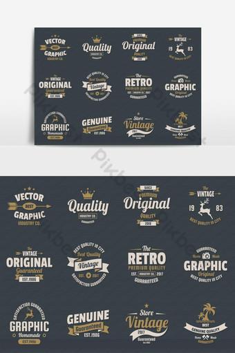 elemento gráfico de vector de paquete de emblema plano de estilo retro vintage Elementos graficos Modelo EPS