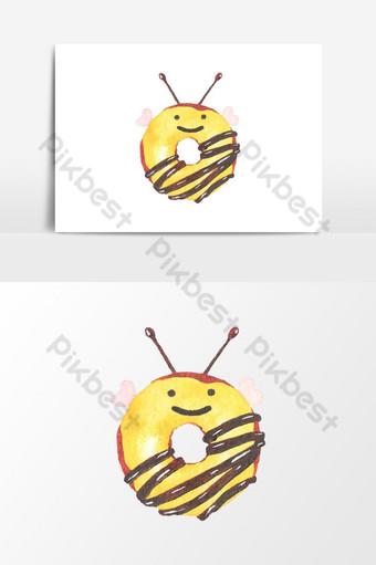 수채화 재미있는 도넛 클립 아트 요소 일러스트 템플릿 PSD