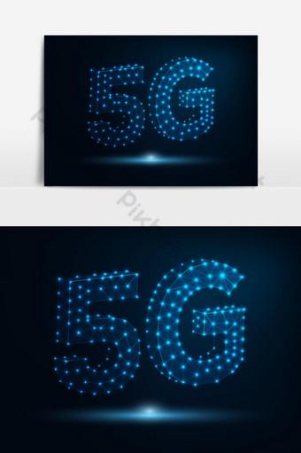 tecnología futura 5g señal de velocidad de conexión a internet elemento gráfico poligonal bajo Elementos graficos Modelo AI