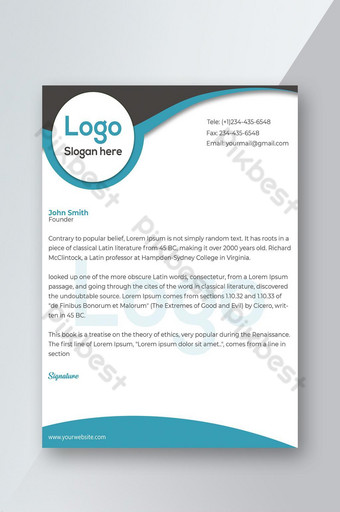 Modèle de Papier à en-tête d'entreprise propre et d'entreprise Modèle PSD