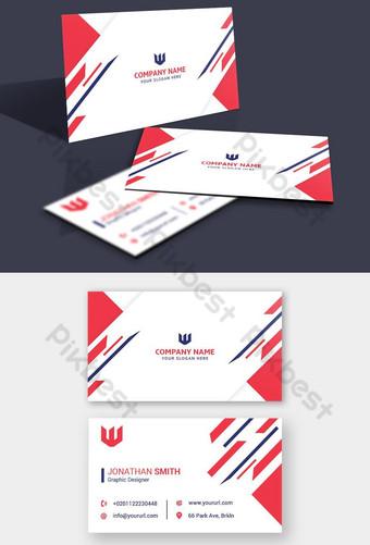 plantilla de tarjeta corporativa de forma roja y azul marino Modelo PSD