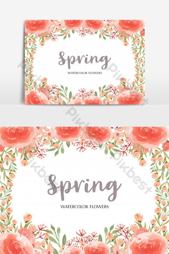سعيد بطاقة زفاف بطاقة دعوة الأزهار عنصر الرسم صور PNG قالب AI
