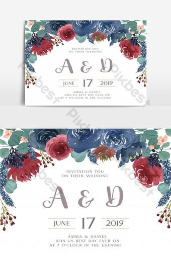 Élément graphique de jardin floral carte de mariage heureux Éléments graphiques Modèle AI