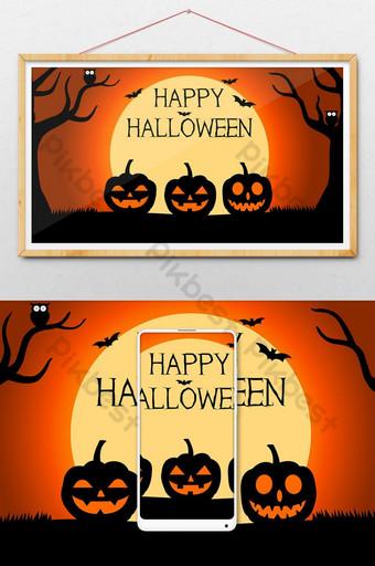 Fondo de halloween con siluetas de calabazas bajo la ilustración de luna llena Ilustración Modelo AI