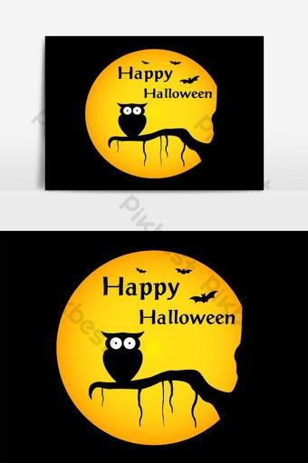 Fondo de feliz halloween con silueta de búho de ilustración en elemento de luna Elementos graficos Modelo AI