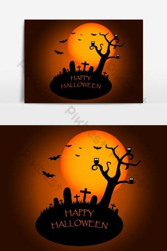 هالويين، الخلفية، ب، صورة ظلية، بسبب، المقبرة، أيضا، ال التعريف، قمر، الخلفية صور PNG قالب AI