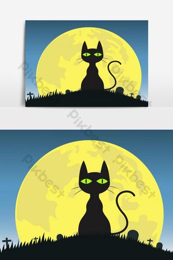 halloween, plano de fondo, silueta, gato negro, en, cementerio, elemento Elementos graficos Modelo AI