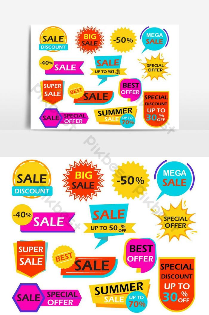 Продажа баннеров элемент дизайна теги связка вектор графический элемент