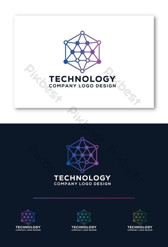 ikon reka bentuk logo teknologi moden