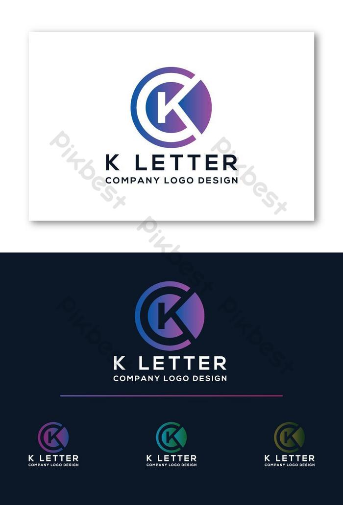 Ícone de logotipo moderno colorido da letra k