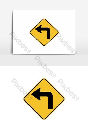 elemento gráfico de vector de señal de tráfico de giro a la izquierda Elementos graficos Modelo EPS