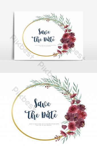 سعيد بطاقة زفاف الزهور حديقة دعوة عنصر الرسم ناقلات صور PNG قالب AI