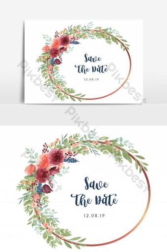 Élément graphique vectoriel de joyeux mariage carte jardin floral anneau Éléments graphiques Modèle AI