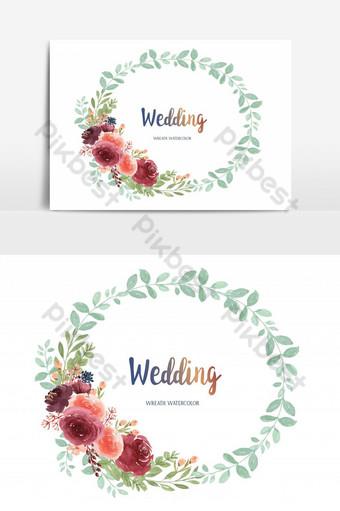 سعيد الزفاف بطاقة الزهور حديقة الزواج عنصر الرسم ناقلات صور PNG قالب AI