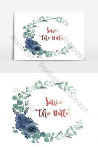 بطاقة زفاف سعيد حديقة الأزهار الخضراء عنصر الرسم ناقلات صور PNG قالب AI