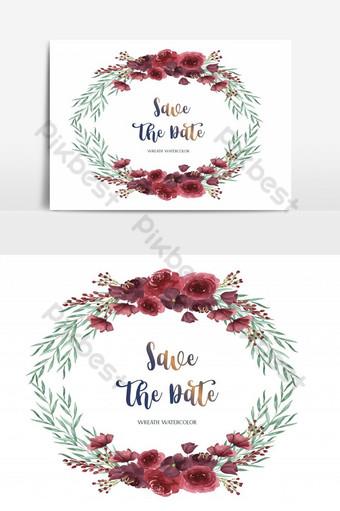 بطاقة زفاف سعيد حديقة الزهور الحمراء عنصر الرسم صور PNG قالب AI