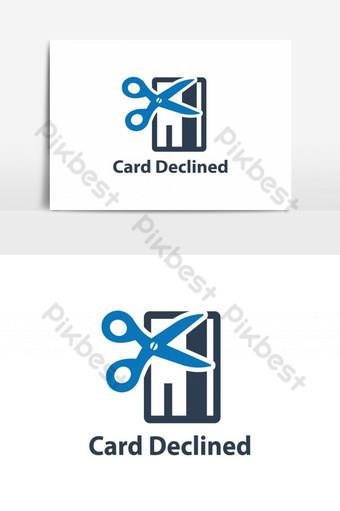 tarjeta rechazada icono tijeras con un elemento gráfico de vector de icono de línea discontinua Elementos graficos Modelo AI
