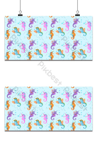 Cute sea horse Unicorn in water seamless pattern can use for fabric textile background Backgrounds Template AI