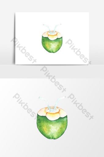 뜨거운 여름 그래픽 요소에 대 한 수채화 코코넛 클립 아트 일러스트 템플릿 PSD