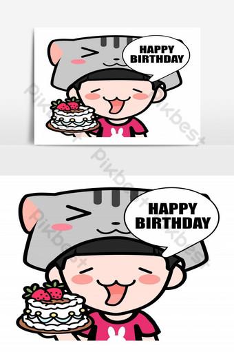 anak laki-laki avatar yang lucu mengenakan topi kucing dan memegang kue ulang tahun sambil mengucapkan selamat ulang tahun Elemen Grafis Templat EPS
