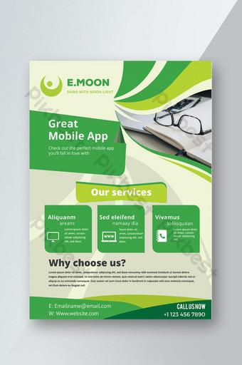 Dépliant de l'application mobile verte Modèle AI