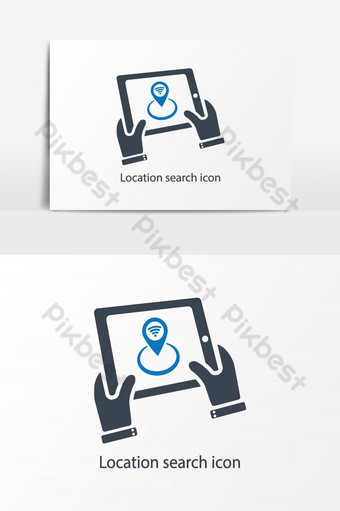 Location search icon vector graphic elemnet PNG Images Template AI