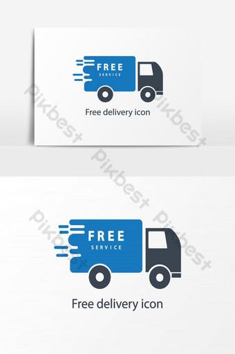 elemento gráfico de vector de icono de camión de entrega rápida y gratuita Elementos graficos Modelo AI