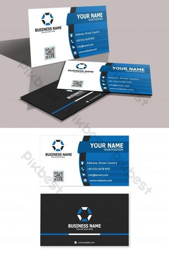 Modèle de carte de visite bleu et blanc Modèle AI