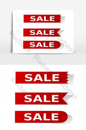 Establecer vector de venta de etiqueta roja en los elementos gráficos de fondo blanco Elementos graficos Modelo EPS