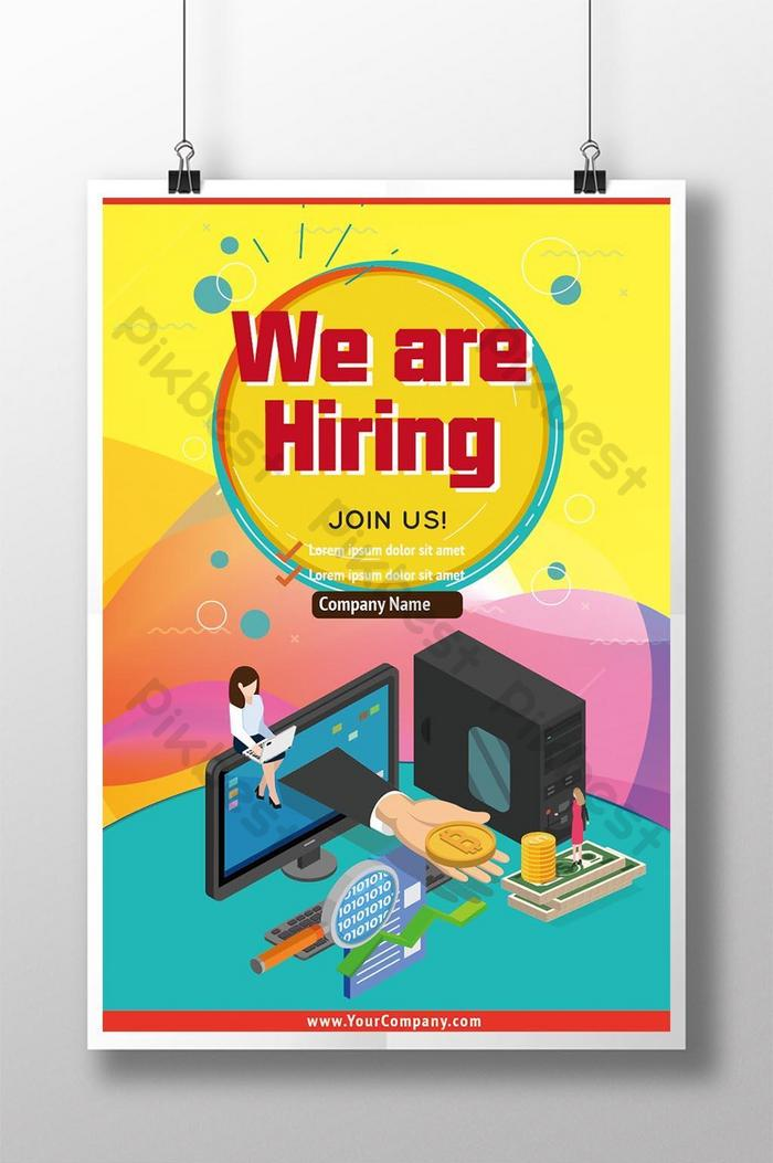 colourful flat style recruitment poster
