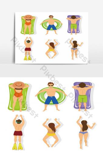 people swimming enjoying summer pool sea ocean bundle vector graphic element PNG Images Template EPS