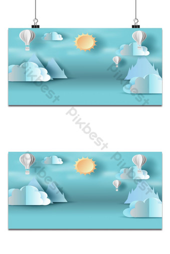 Escena cielo azul con fondo de nubes y sol Fondos Modelo EPS