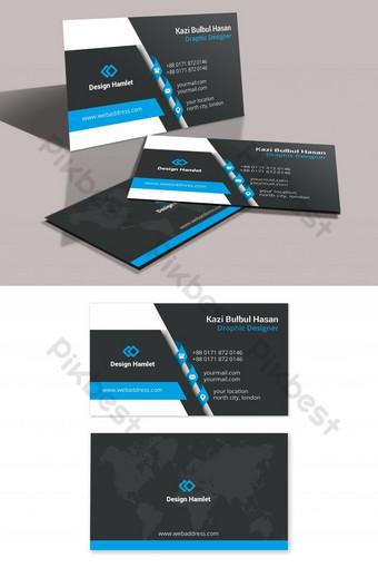 Carte de visite d'entreprise moderne bleu et noir Modèle PSD