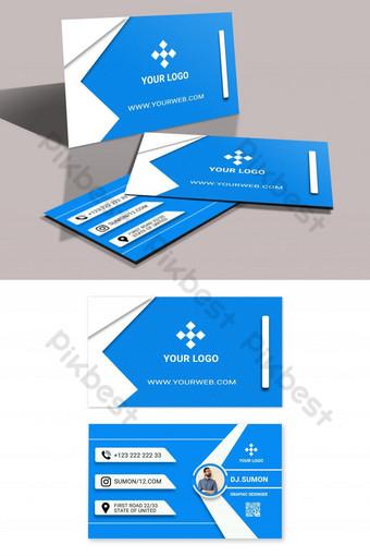 Conception de carte de visite bleue créative Modèle PSD