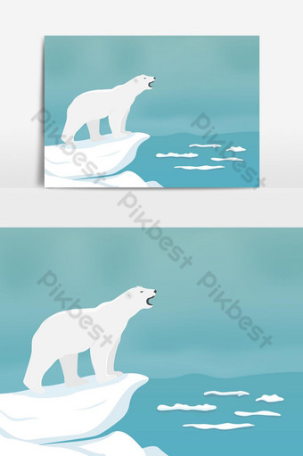 Polar bear needs sea ice to survive Flat cartoon character vector graphic element PNG Images Template EPS