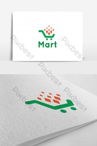 أخضر برتقالي مارت شعار ناقلات عنصر الرسم قالب AI