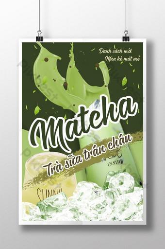 plakat wietnamskiej herbaty mlecznej matcha Szablon PSD