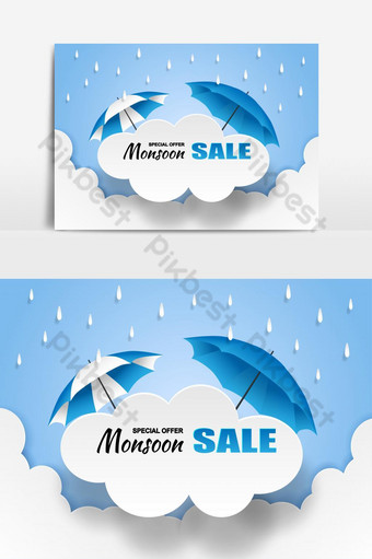 Monsoon, Rainy Season sale Cloud rain and umbrella on blue sky Vector Graphic Element PNG Images Template EPS