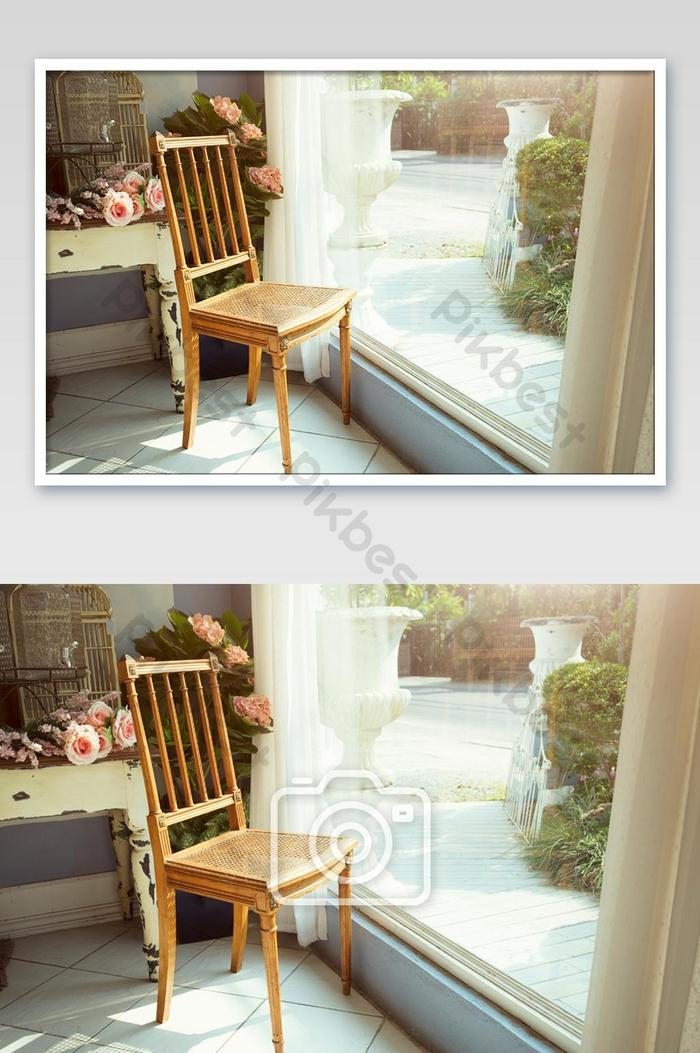 Picture of: Classic Wooden Chair Beside The Big Mirror Window In Vintage Decorated Room Felling Relax Photo Jpg Free Download Pikbest