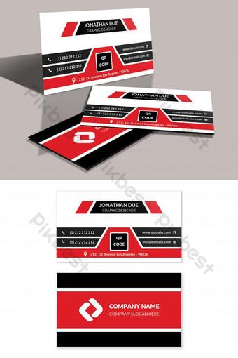 Modèle de conception de carte de visite d'entreprise élégante rouge Modèle PSD