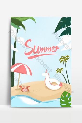Ang cartoon unicorn life ring na may crab palm tree at payong sa isla sa background ng tag-init Background Template PSD