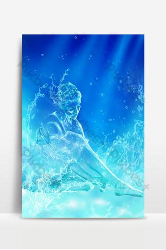 Abstract magandang babae sa hugis ng drop ng tubig ay nasa posisyon ng pag-upo na may sariwang asul na background Background Template PSD