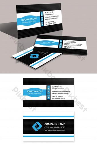 Modèle de conception de carte de visite d'entreprise bleue Modèle PSD