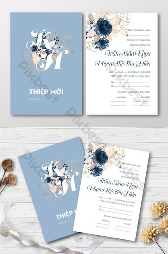 Carte d'invitation de mariage de roses d'or bleu Modèle AI