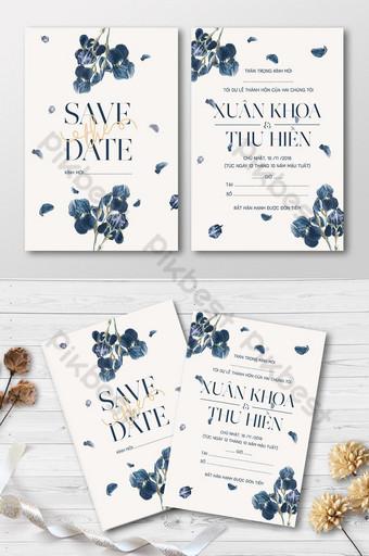 Carte d'invitation de mariage élégant à motif floral d'iris Modèle AI