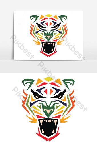 elemento gráfico de vector de cara de tigre para colorear Elementos graficos Modelo AI
