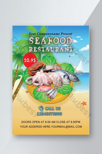 Seafood Restaurant Flyer Template PSD